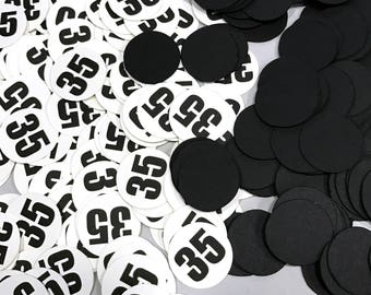 35th Birthday Confetti, 35, 3/4 Inch Circles - Black and White or Your Colors