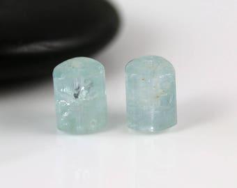 Natural Aquamarine Beads - Pair - Aquamarine Beads - Tri Tubes