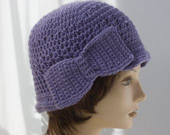 Soft Violet Flapper Hat with Bow, Woman's Hat,1920's Hat,  Women's Cloche Hat, Ready to Ship