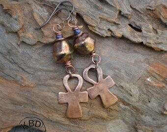 Copper Ankh and Raku Earrings