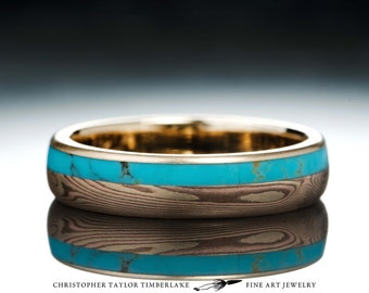 Mokumé Gane 14K Yellow Gold, 14K Rose Gold, and 2K Shakudo Ring with Veined Turquoise Inlay
