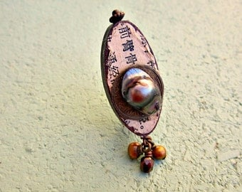 Pin, Rustic Assemblage Art Brooch with Pearl Accents: Aubrey