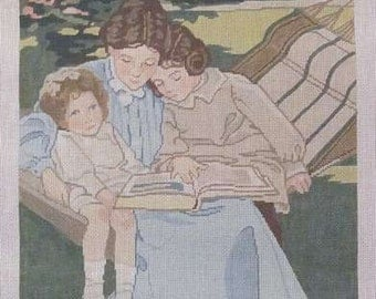 Needlepoint Canvas Mother & Two Children Handpainted