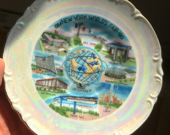 1964/65 New York World's Fair Souvenir Plate with Mother of Pearl Glaze