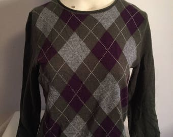 Vintage Cashmere Sweater, Green Gray Purple Argyle V Neck Pullover Sweater Size M Medium, Argyle Cashmere Sweater, Hipster Sweater Cashmere