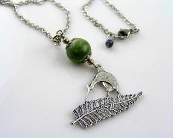 Greenstone Bowenite Kiwi Necklace, New Zealand Necklace, New Zealand Greenstone Jewelry, New Zealand Jewelry, Fernleaf Necklace, N1676