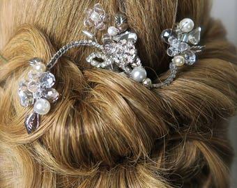 Bridal Hair vine, Wedding Hair Comb, Bridal vine silver,Silver Hair Accessories,silver Hair Jewelry