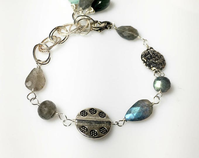 Featured listing image: Labradorite Bali Silver Bracelet, Chalcedony, Moss Aquamarine, Multi stone Links, Gifts for Her