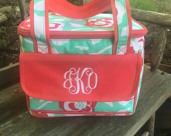 Flora Bora Insulated Cooler-Flower Lunch Bag-Personalized-Monogram-Cooler Bag-Cold Bag
