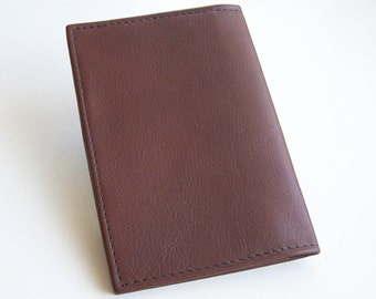 Brown Top Stub Checkbook - Brown Leather Checkbook Cover - Leather Checkbook Holder
