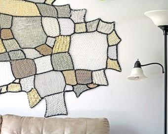 White Patch & Black Yarn Fiber Art Tissage Mural Ombre Asymmetrical Amoeba Tapestry Wall Hanging Handmade Gift Interior Home Decor Crochet