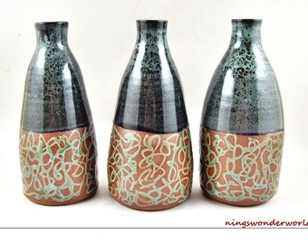 modern Ceramic Bottle, Vases bottles, pottery home decor, handmade stoneware vase - In stock