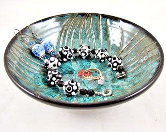 Pottery Flower dish, small pottery dish, handmade dish, teal blue and black, housewarming gift