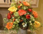 Colorful Poppy Arrangement In Metal Pitcher