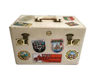 Vintage Traincase with Vintage Travel Stickers