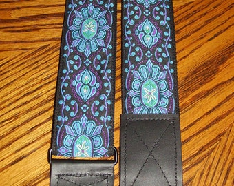 Black,Turquoise & Magenta Embroidered Trim Guitar Strap,Adjustable