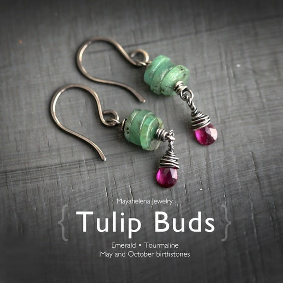 Tulip Buds - Genuine Emerald Pink Tourmaline Dangle Sterling Silver Earrings