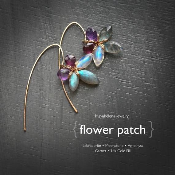 Flower Patch  - Labradorite Moonstone Amethyst and Garnet Flower Dangle 14k Gold Fill Earrings