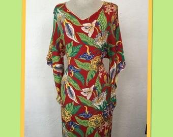 """Vintage 1940s Pake Muu / Hawaiian Dress waist 33"""" VLV Viva Las Vegas 20"""