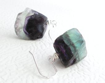 Rainbow Fluorite Earrings, Green & Purple Raw Fluorite Jewelry, Sterling Silver