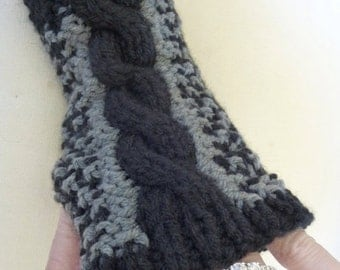 Black Friday sale Knit Gloves for Women, Black Fingerless Gloves w Gray, Wrist Warmers Black and Gray, Ready to Ship