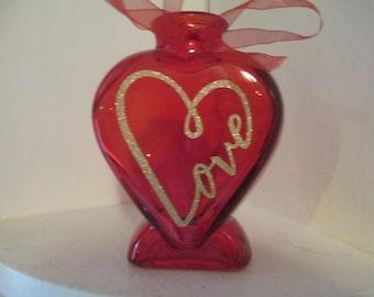Red Glass Gold Infinity Love Vase Home Decor Jenuine Crafts