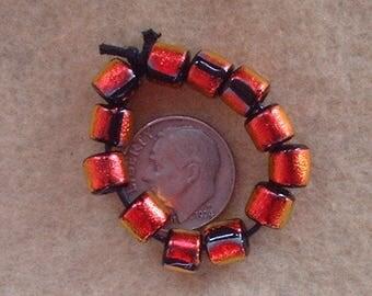 12 Bright Copper  Mini Dichroic Tube Beads Lampwork Handmade BY Dee Howl Beads