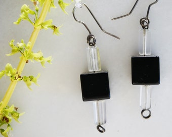 Black Onyx Square with Crystal earrings
