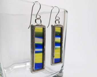 Nautical - Sterling Silver Stained Glass Earrings