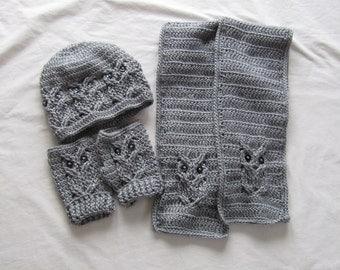 Owl Hat, Gloves and Scarf Crochet set - Owl Hat - Owl Scarf - Owls - custom order - fingerless gloves - Buttons - Crocheted - Handmade