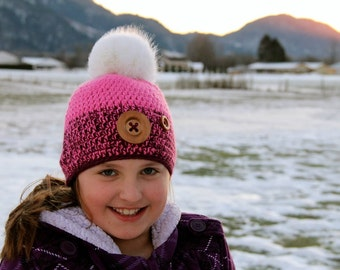 Crocheted Slouch Beanie - Pom Pom, Handmade, Gifts for Her, Crochet Hat, Slouchy Beanie, Crochet Beanie, Chunky Hat, Bulky Slouch Hat,