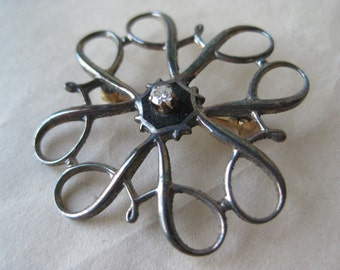 Sterling Avon Award Pin Clear Stone Vintage Enamel Black Brooch 925 Filigree
