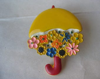 Flower Umbrella Brooch Yellow Pink Blue Red Vintage Pin Spring