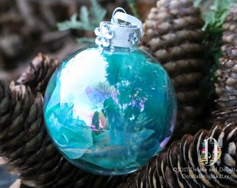 Rose Petal Flower Aqua Teal Turquoise Blue Diamond Glass Round Ornament, White Glitter Crystal Bead Gem Christmas Holiday Tree Decor