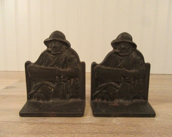 Reduced...Pair of Cape Cod Fisherman bronze bookends- nice condition, great design, functional