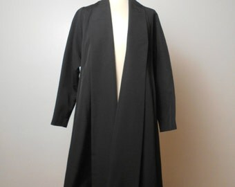 Vintage 1940's Cee-Co Trapeze / Swing Coat Black Faille Size Small