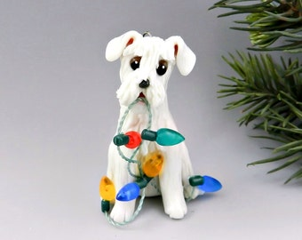 Schnauzer White Christmas Ornament Figurine Lights Porcelain