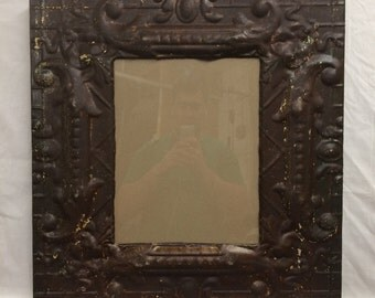 TIN Ceiling Metal Picture Frame Rust Burnish 11x14 Shabby Recycled chic 445-16