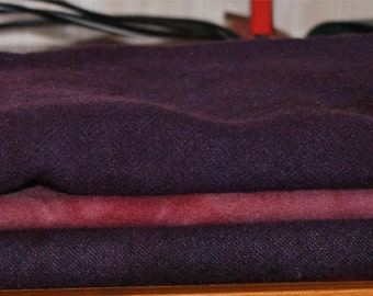 PURPLE MIX hand-dyed wool for rug hooking and penny rugs
