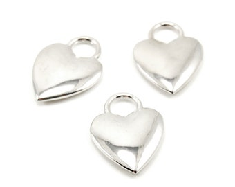 Heart Shaped Lock Charms - 3 Pieces - Reflective Silver Plated - Romantic Boho, Love, Wedding Favors, Valentine
