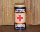 Vintage Metal and Cardboard Red Cross BAND AID Tin Round Cylinder