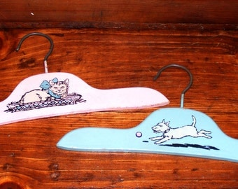 Charming Vintage Child's Blue Wood Hanger with Scottie Dog and Pink Wooden Hanger with Cat