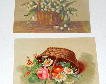 Antique Victorian era Card Lot of 2 Spring Flower Basket