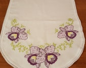 Table runner topper purple floral with greenery FREE SHIPPING USA