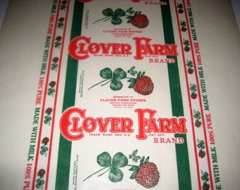 Vintage Waxed Paper Bread Wrapper for Paper Crafting, Scrapbooking, etc. - Clover Farm Brand