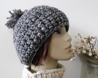 Women' s Crochet Beanie Hat Grey Slouchy Teenager's Trendy Hat