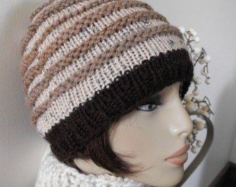 Woman's Hand Knit Hat Trendy Ski Winter Hat Women's Hat Teenager's Tuque Striped Brown Warm Beanie