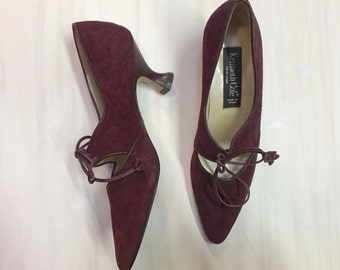 vintage 90s burgundy suede kitten heels / maroon Kenneth Cole tie front pumps