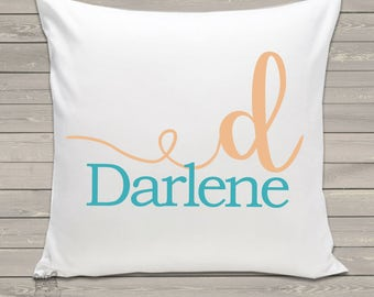 Custom kids name personalized throw pillow monogram with pillowcase made to match bedroom colors PIL-104