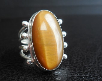 TIGERS EYE Sterling Ring Size 8.5 Cool Design!!!! Expels Evil, Positive Energy & So Healing!! Chakras!!!